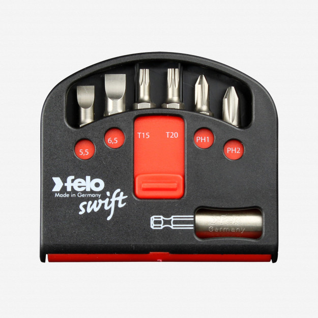 Felo 51923 Swift Box Universal 6 piece Bits & Magnetholder - Slotted, Torx, Phillips
