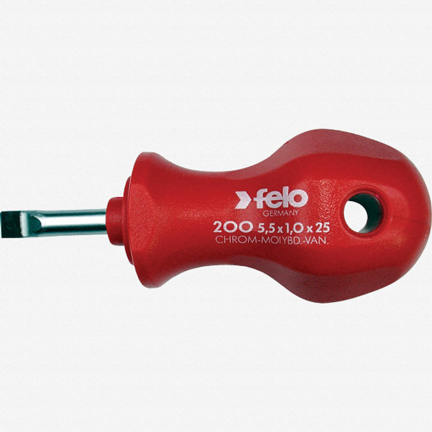 "Felo 13045 1/4"" x 1"" Slotted Stubby Screwdriver - PPC Handle"