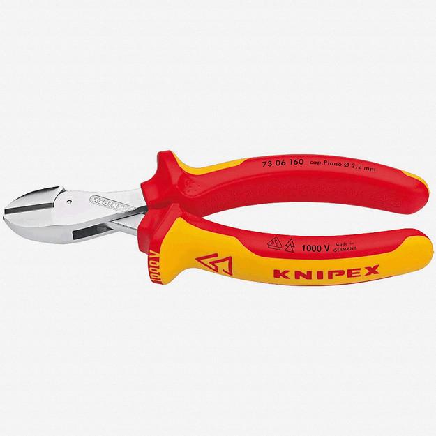 """Knipex 73-06-160 6.3"""" X-Cut Diagonal Cutter - Insulated"""
