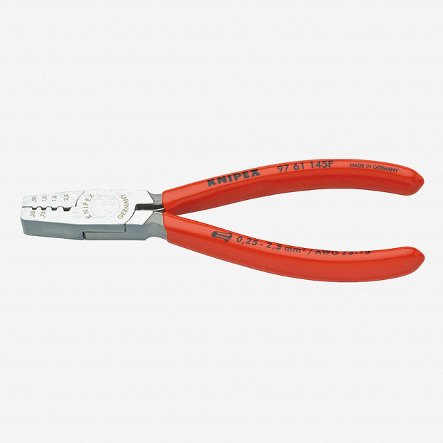 Knipex 97-61-145-F Trapezoidal Crimping Pliers for end sleeves (ferrules) w/ Spring - Plastic Grip