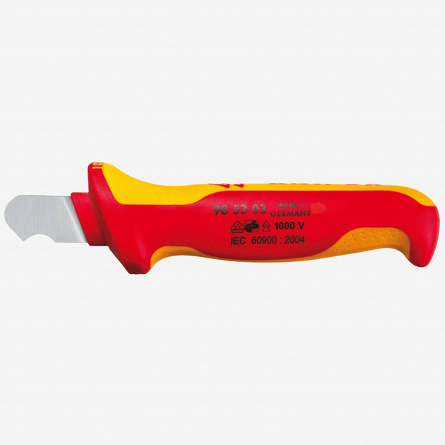 Knipex 98-53-03 Insulated Dismantling Knife - Solid, Fixed Hook Blade