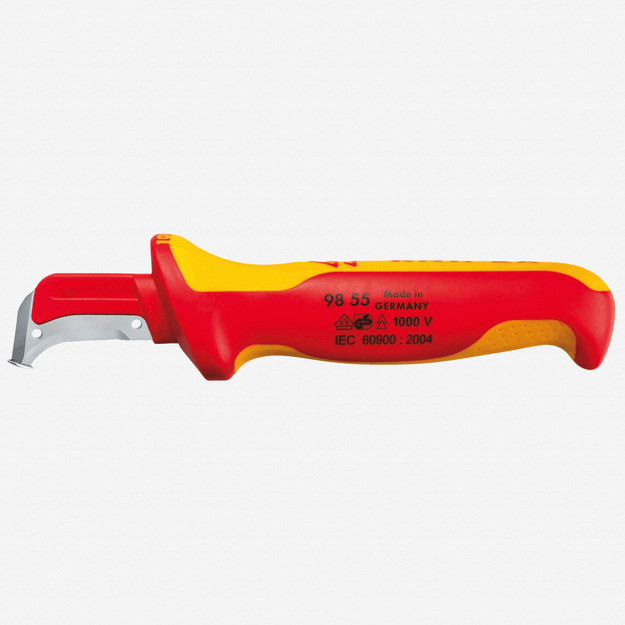 Knipex 98-55 Insulated Dismantling Knife - Sickle Shaped Blade