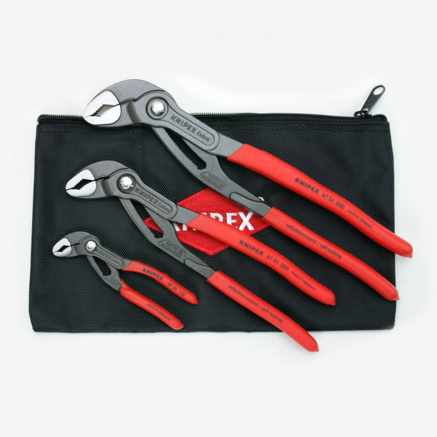 """Knipex 9K-00-80-122-US 3 Pc Cobra Pliers Set w/ Keeper Pouch, 5"""", 10"""" & 12"""" - Plastic Grip - KC Tool"""