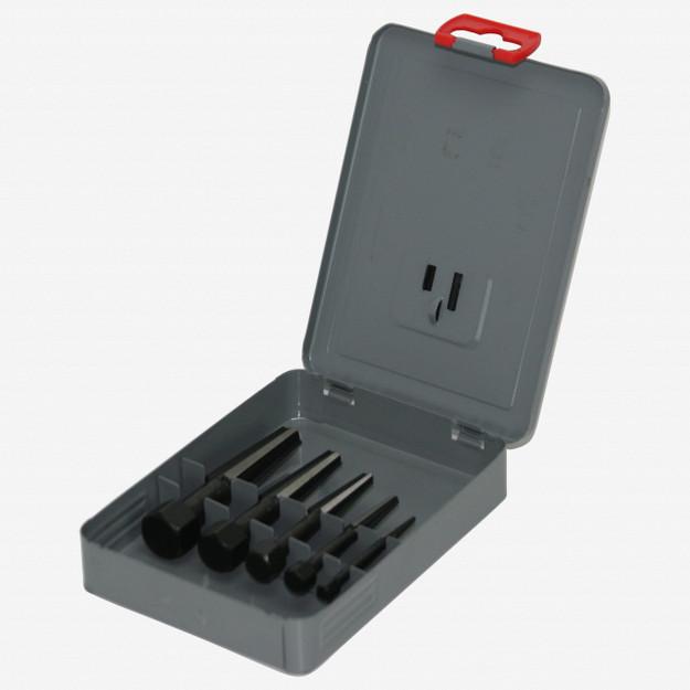 Rennsteig Double Edged Screw Extractor 5 Piece Set + Metal Case (Size 1-5)
