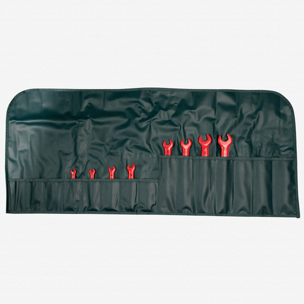 Wiha 20093 8 Piece Insulated Open End Wrench Metric Pouch Set