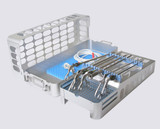 """Lap chole case, two level, with insert and brackets for up to 35 cm or 13.5"""" instruments (shown with optional pin mat in the base for additional instrument storage)"""