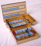 Microsurgical case, two level, with pin mat/retainers/short tray/full height accessory area