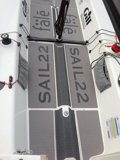 The Sail22 J/70 Soft Deck Kit protects your crew, gear and lines. Self-adhesive and non-absorbing of water. Custom graphic inlays available.