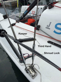 J/70 Third Hands with Keepers. Recommended with Sail22 Shroud Lock and Rig Adjustment Tool.