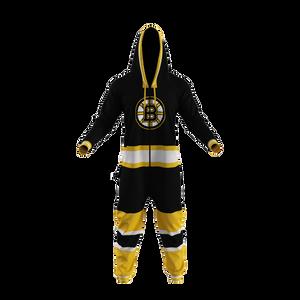 Boston Bruins onesie pajamas by Hockey Sockey - front view