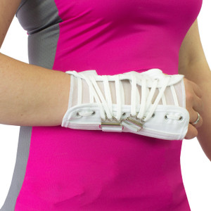 Moisture Wicking Wrist Immobilizer White Canvas Cock-Up Lace Wrist Splint Carpal Tunnel Brace Support