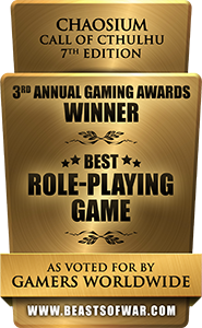 Beasts of War Trophy - Best RPG 2017 Call of Cthulhu 7th Ed