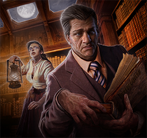 Two investigators exploring a library