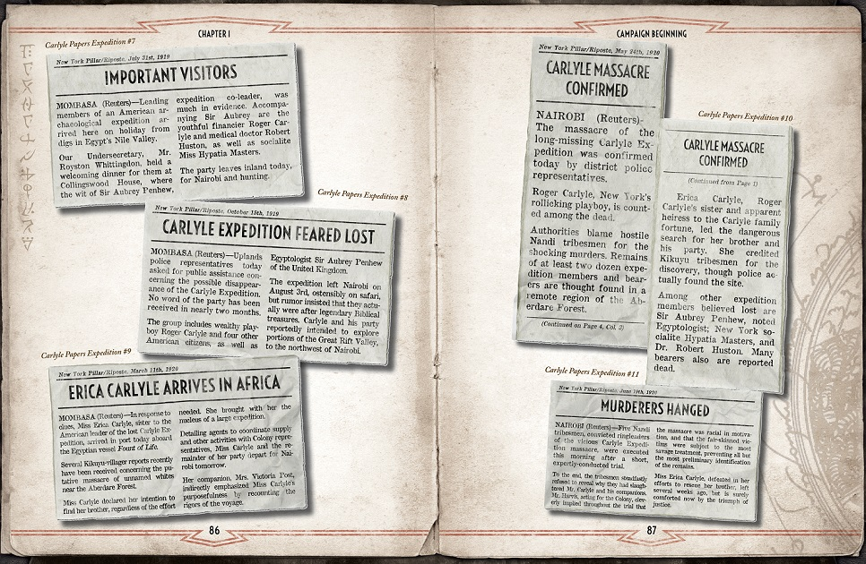 Both pages have news clippings on them, providing a chronological look at some of the events in Chapter 1.