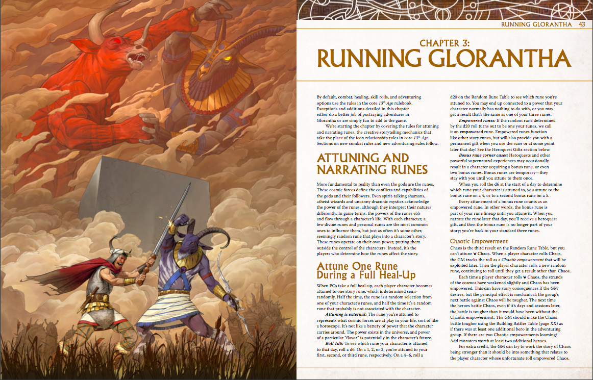 double page spread of 13th Age in Glorantha