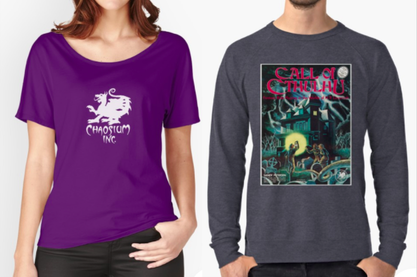 day 8 at redbubble is 20% off clothes Chaosium