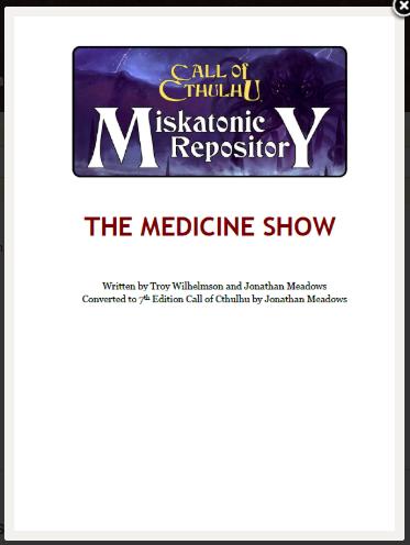 The Medicine Show - Miskatonic Repository