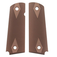 """1911 Government/Commander 3/16"""" Thin Grip - Aluminum Checkered Matte Green Anodized"""
