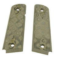 """1911 Government/Commander 9/32"""" Thick Grip - G-10 Checkered G-Mascus Green"""