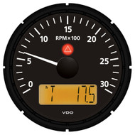 VDO Viewline Onyx 3,000 RPM 3-3/8 (85mm) Tachometer w/2 Hourmeters, Clock and Voltmeter - 12/24V