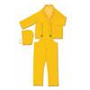 MCR Safety 2403 3 Piece Yellow Rain Suit Jacket w/ Detachable Hood and Bibpants, Size 2XL (1 Each)