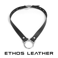 Simple Leather Collar, Chrome Plated Brass Hardware