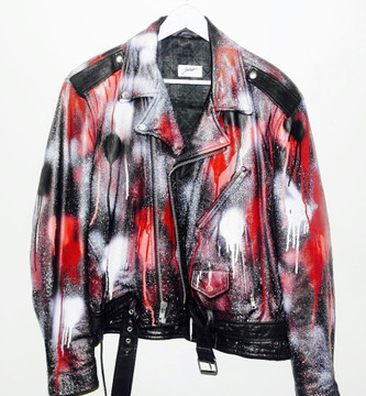 Drippy Leather Jacket Red