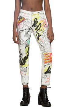 White Graffiti Denim Jeans