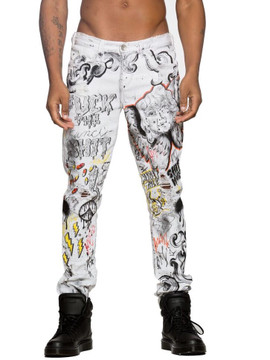 White Graffiti Denim