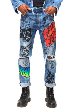 """FUCK FEAR"" GRAFFITI DENIMS"