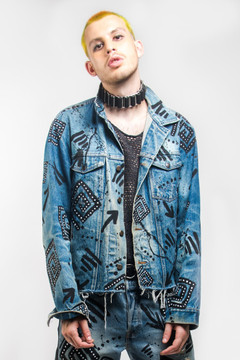'ILLUSION' PRINT DENIM JACKET