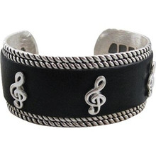 Bracelet Silver Black Leather G-Clef