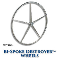 36-inch Stainless Bi-Spoke Destroyer Wheel with 1-inch Tapered Hub