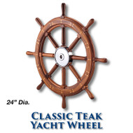 24-inch Classic Teak Yacht Wheel with 1-inch Straight Hub