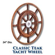 34-inch Classic Teak Yacht Wheel with Teak Rim with 1-inch Straight Hub