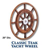 38-inch Classic Teak Yacht Wheel with Teak Rim with 1-inch Straight Hub