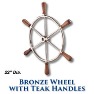 """22"""" Polished Bronze Wheel with Teak Handles with 1-inch Straight Hub"""