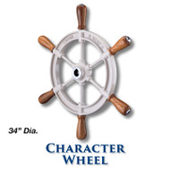 34-inch Character Wheel with Teak Handles with 1-inch Straight Hub