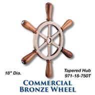 18-inch Commercial Bronze Wheel with Teak Handles with 1-inch Tapered Hub