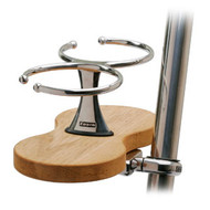 Double Clamp-On Drink Holder - Teak Base