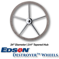 """24"""" Deluxe Leather Covered Rim Stainless Steel Destroyer Wheel - 3/4-inch Tapered Hub"""