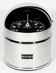 "Ritchie GlobeMaster Compass Pedestal Mount with Hood - Stainless - 6"" Dial"