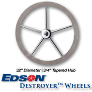 """32"""" ComfortGrip Leather Covered Rim Stainless Steel Destroyer Wheel - 3/4-inch Tapered Hub"""