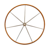 44-inch - Varnished Teak Rimmed Destroyer Wheel