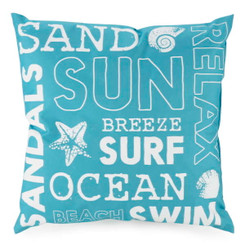 Sun surf and sand blue outdoor cushion from Giftopolis.ca