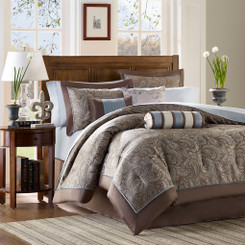 Robin Blue/Bronze Queen Duvet Set 6 pcs