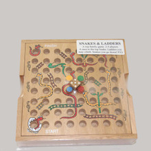Classic Wooden Snakes and Ladders Board Game