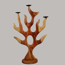 Spirit of Fire Carved Wood Candleabra