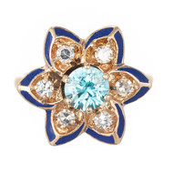 1950 Vintage black Enamel .95ct Blue Zircon Diamond Gemco 14k Flower Ring