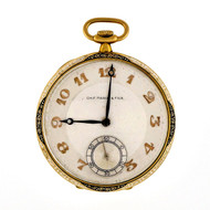 Art Deco CH.F.Tissot & Fils 18k Gold Black White Enamel Pocket Watch